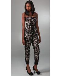 Tibi | Black Chantal Lace Strapless Jumpsuit | Lyst