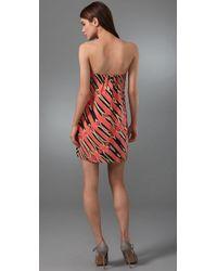 Tibi - Pink Zebra Ikat Strapless Dress - Lyst