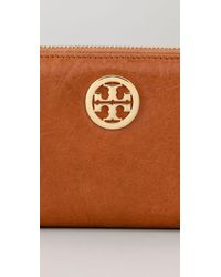 Tory Burch - Orange Leather Zip Continental Wallet - Lyst
