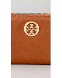 Tory Burch | Orange Leather Zip Continental Wallet | Lyst