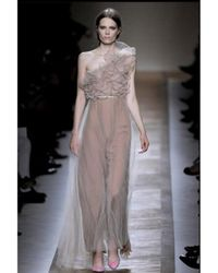 Valentino | Natural One Shoulder Long Tulle Dress | Lyst
