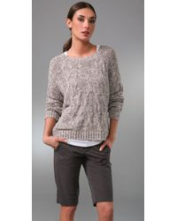 Vince | Natural Cropped Cable Knit Sweater | Lyst