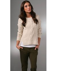 VINCE | White Cable-knit Wool-blend Cropped Sweater | Lyst