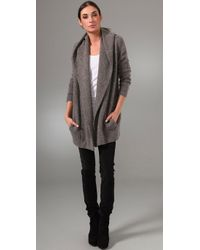 Vince - Gray Hooded Sweater Coat - Lyst