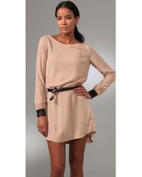 A.L.C. Natural Hardy Belted Crepe Dress
