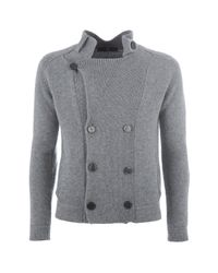 Daniele Alessandrini - Gray Double Breasted Jacket Style Cardigan for Men - Lyst