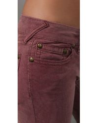Free People - Pink Super Skinny 5 Pocket Corduroy Pants - Lyst