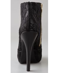 House of Harlow 1960 Black Leslie Lace Zip Ankle Boot