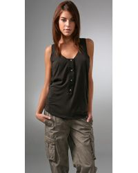James Perse | Brown Henley Boxy Tank | Lyst