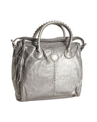 Marc By Marc Jacobs | Metallic Silver Leather Studded Top Handle Bag | Lyst