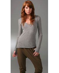 Enza Costa | Gray Cotton Cashmere Sweater with Thumbholes | Lyst