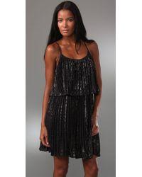 Halston - Black Pleated Cocktail Dress - Lyst