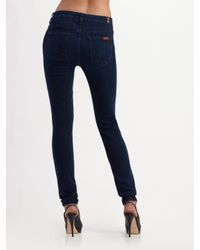 7 For All Mankind - Purple High-waist Skinny Jeans - Lyst