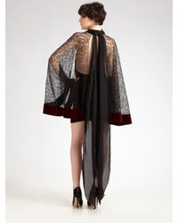 Alexander Wang | Purple Velvet & Lace Cape Dress | Lyst