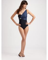 Badgley Mischka | Black One-shoulder One-piece Swimsuit | Lyst