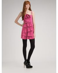 BCBGMAXAZRIA - Black Rosette Ruffle Cocktail Dress - Lyst