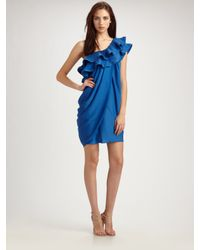 BCBGMAXAZRIA | Blue Ruffle One Shoulder Draped Dress | Lyst