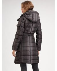 Burberry Brit - Gray Check Puffer Coat - Lyst