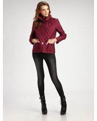 Burberry Brit - Red Quilted Single-breasted Jacket - Lyst