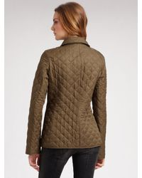 Burberry Brit   Green Quilted Single-breasted Jacket   Lyst