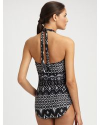Carmen Marc Valvo - Black Printed One-piece Swimsuit - Lyst