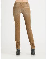 Current/Elliott - Brown Skinny Corduroy Pants - Lyst