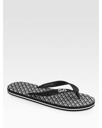 Dolce & Gabbana | Black Logo Flip Flops for Men | Lyst