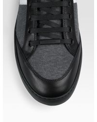Dior Homme - Gray Jersey & Leather High-top Sneakers for Men - Lyst
