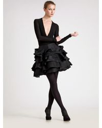 Donna Karan | Black Ruffled Silk-organza and Wool-felt Skirt | Lyst