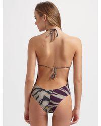 Emilio Pucci - Green Zebra-print One-piece Swimsuit - Lyst