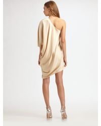 Halston - Metallic One-sleeve Drape Dress - Lyst