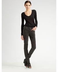 Helmut Lang - Green High-rise Corduroy Skinny Jeans - Lyst