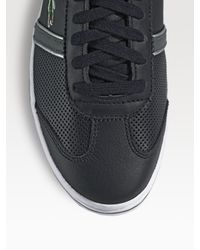 Lacoste - Black Perforated Leather Sneakers for Men - Lyst