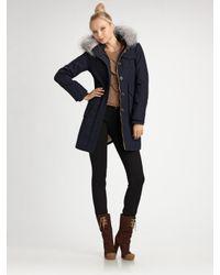 Marc By Marc Jacobs | Blue Parker Fur-trim Twill Coat | Lyst