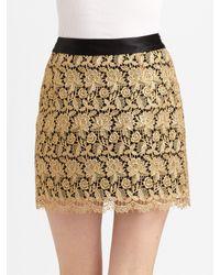 MILLY - Metallic Lace Mini Skirt - Lyst