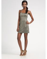 MILLY | Metallic Sateen Corset Dress | Lyst