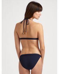 MILLY - Blue Toggle Bikini Top - Lyst