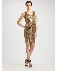 Boutique Moschino | Metallic Lurex Drape Front Jersey Dress | Lyst