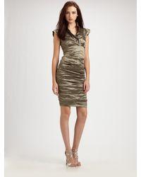 Nicole Miller Cap Sleeve Cocktail Dress In Bronze