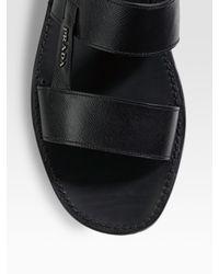 Prada | Black Two-band Sandals for Men | Lyst