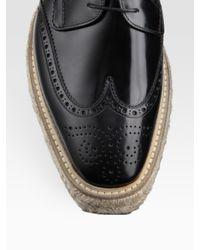 Prada - Black Wingtip Espadrilles for Men - Lyst