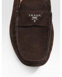 Prada - Brown Suede Logo Drivers for Men - Lyst