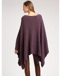 Ralph Lauren Blue Label | Purple Wool/cashmere Cable-knit Poncho | Lyst