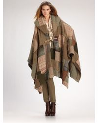 Ralph Lauren Blue Label | Brown Wool/cashmere Patchwork Poncho | Lyst
