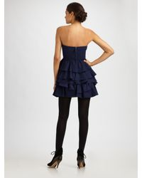 Rebecca Taylor - Blue Fit & Tiered Party Dress - Lyst