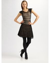 RED Valentino | Black Knitted Lace Mini Dress | Lyst
