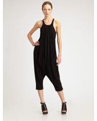 Rick Owens Lilies | Black Pleated Jersey Jumpsuit | Lyst