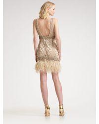 Sue Wong | Metallic Sequined Feather Hem Dress | Lyst