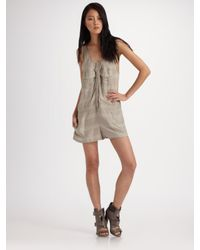 T By Alexander Wang | Gray Dobby Striped Romper | Lyst