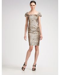Tadashi Shoji | Brown Cap-sleeve Animal-print Dress | Lyst